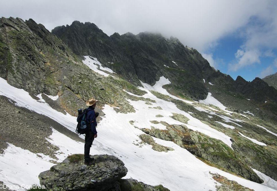 Hiker in Fagaras Mountains
